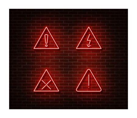 Neon warning signs vector isolated on brick wall. Warning loop light symbol, decoration effect.