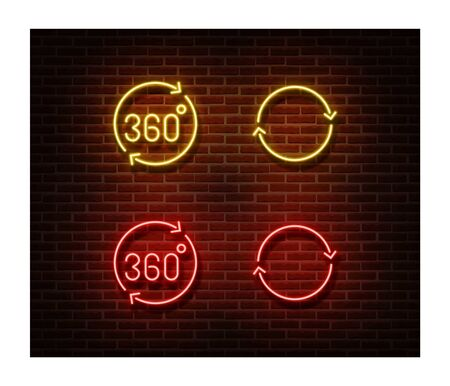 Neon rotate signs vector isolated on brick wall. 3d vision light symbol, decoration effect. Neon illustration.