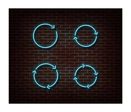 Neon upload, reload signs vector isolated on brick wall. Load light symbol, decoration effect. Neon update illustration.