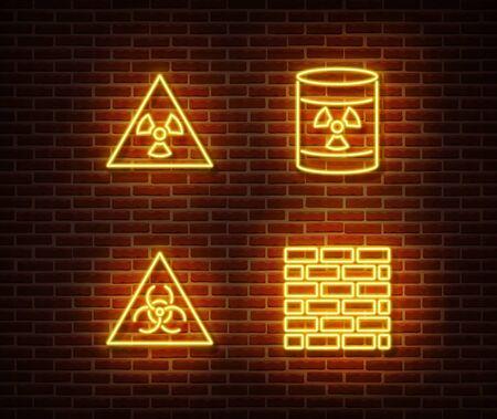 Neon dangerous signs vector isolated on brick wall. Radiation, atom, hazard light symbol, radiactive decoration effect. Neon dangerous illustration.