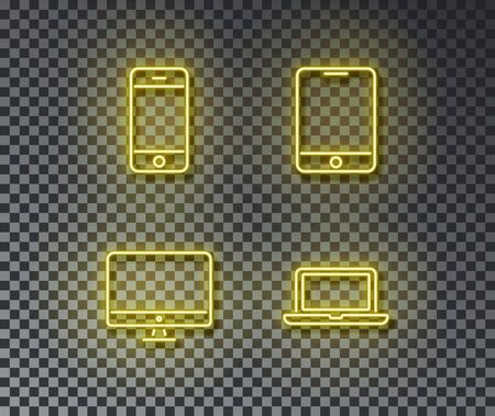 Neon device signs vector isolated on brick wall. Phone, smartphone, pk, laptoplight symbol, decoration effect. Neon computer illustration.