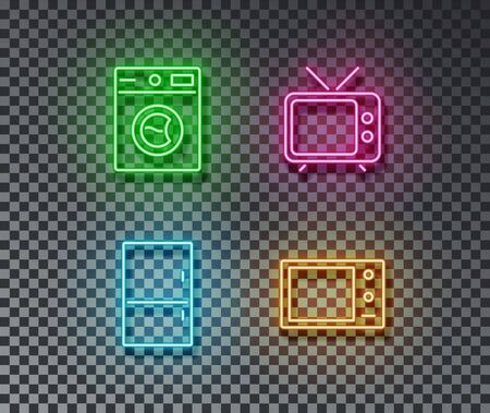 Neon house device signs vector isolated on brick wall. Wash machine, fridge, microwave, tv light symbol, decoration effect. Neon devices illustration.