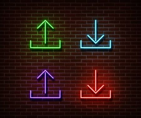 Neon cloud data signs vector isolated on brick wall. Download, upload data light symbol, decoration effect. Neon storage illustration. Illustration