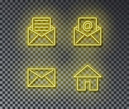Neon mail signs vector isolated on brick wall. Post mail, letter, home, open, envelope light symbol, decoration effect. Neon email illustration. Illustration