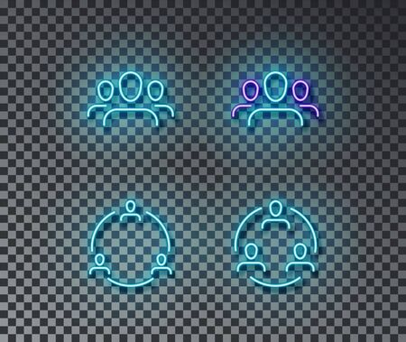 Neon team signs vector isolated on brick wall. Group people, team, communication light symbol, decoration effect. Neon group people illustration.