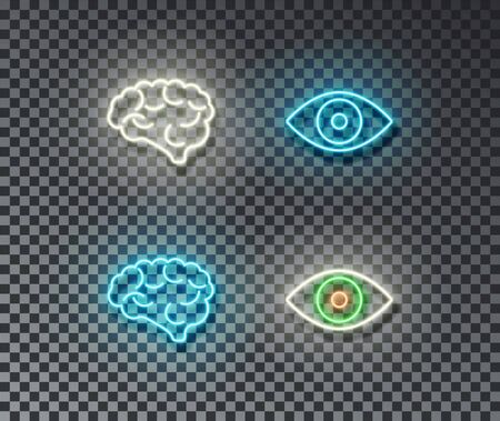 Neon mind and eye signs vector isolated on brick wall. Brain, eye light symbol, decoration effect. Neon illustration. Vettoriali