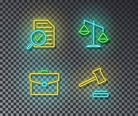 Neon law signs vector isolated on brick wall. Review, law, suitcase, judje gavel light symbol, decoration effect. Neon crime illustration.