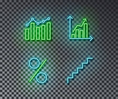 Neon graph signs vector isolated on brick wall. Diagram, upstair, percent light symbol, decoration effect. Neon illustration. Archivio Fotografico - 130650719