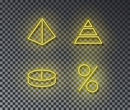 Neon finance pyramid signs vector isolated on brick wall. Pyramid, diagram, percent light symbol, decoration effect. Neon finance illustration. Archivio Fotografico - 130650721