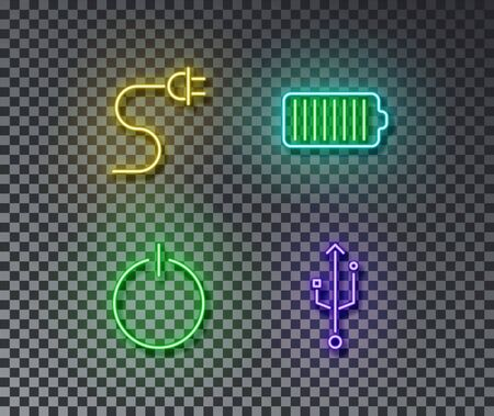 Neon charge signs vector isolated on brick wall. Charge, battery, device, on light symbol, decoration effect. Neon illustration. Archivio Fotografico - 130650722