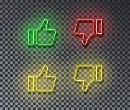 Neon thumb up, down signs vector isolated on brick wall. Like, unlike, light symbol, decoration effect. Neon social illustration. Archivio Fotografico - 130650785