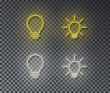 Neon lamb signs vector isolated on brick wall. Light lamp, idea light symbol, decoration effect. Neon light illustration.