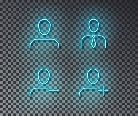 Neon user signs vector isolated on brick wall. Avatar, new user, delete, human light symbol, decoration effect. Neon people illustration.