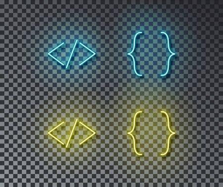 Neon coding signs vector isolated on brick wall. Block code, web, programming light symbol, decoration effect. Neon coding illustration. Illustration