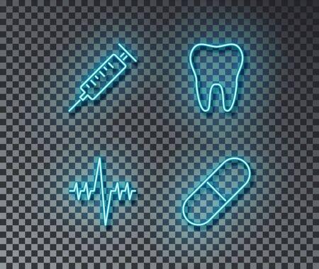 Neon medicine signs vector isolated on brick wall. Tooth, pill, cardiogram, syringelight symbol, health decoration effect. Neon medicine illustration. Archivio Fotografico - 130650799