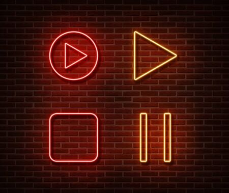 Neon player button signs vector isolated on brick wall. Play, stop, pause button light symbol, decoration effect. Neon music player button illustration. Archivio Fotografico - 130650803