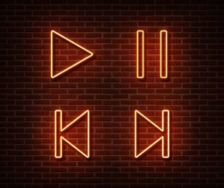 Neon player button signs vector isolated on brick wall. Play, pause, next, previous track light symbol, decoration effect. Neon player insterface illustration.