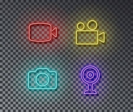 Neon camera signs vector isolated on brick wall. Video, photo, web camera light symbol, decoration effect. Neon digital illustration.