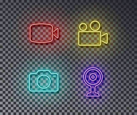 Neon camera signs vector isolated on brick wall. Video, photo, web camera light symbol, decoration effect. Neon digital illustration.