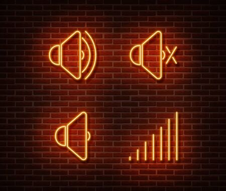 Neon mute signs vector isolated on brick wall. Silent, sount light symbol, decoration effect. Neon mute illustration.