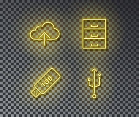 Neon storage data signs vector isolated on brick wall. Cloud data, storage, device, connect light symbol, decoration effect. Neon storage illustration.