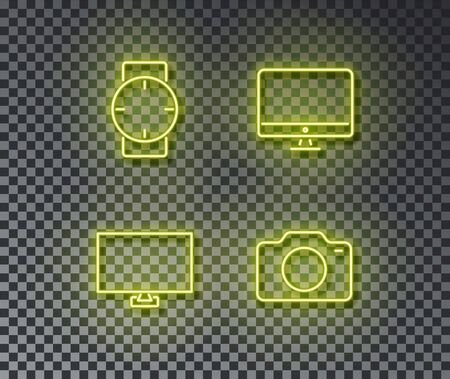 Neon digital device signs vector isolated on brick wall. Watch, display screen, photo camera. Neon computer devices illustration.