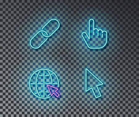Neon click signes vecteur isolé sur mur de briques. Lien, réseau, curseur, symbole de lumière de doigt, effet de décoration. Illustration d'ordinateur au néon.
