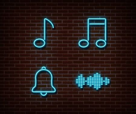 Neon music signs vector isolated on brick wall. Musik key, note, ring, equalizer light symbol, decoration effect. Neon music illustration.