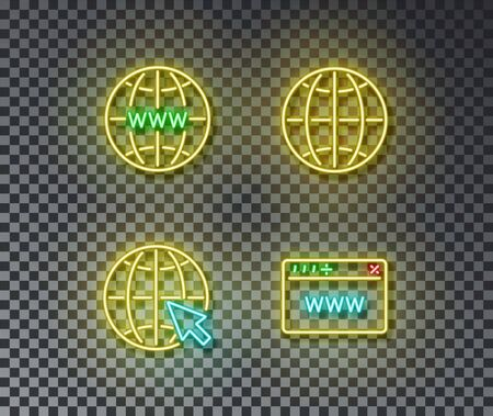 Neon internet signs vector isolated on brick wall. Network, global internet, local language, browser light symbol, decoration effect. Neon internet illustration. Illustration