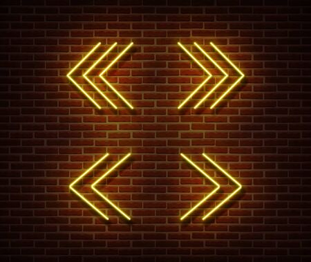 Neon navigation signs vector isolated on brick wall. Next, previous light symbol, decoration effect. Neon navigation player illustration.