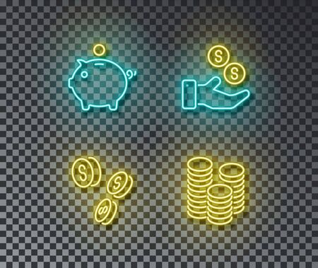 Neon banking signs vector isolated on brick wall. Piggy, bank, money, coin light symbol, decoration effect. Neon finance illustration. Illustration