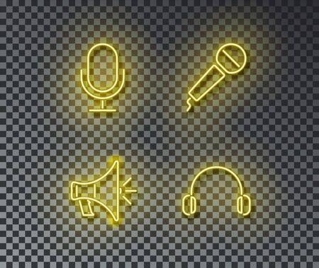 Neon audio signs vector isolated on brick wall. Microphone, radio, speaker, earphone light symbol, decoration effect. Neon music illustration. Illustration