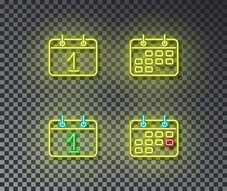 Neon calendar signs vector isolated on brick wall. Calendar, day, event light symbol, decoration effect. Neon date illustration. Archivio Fotografico - 130650835