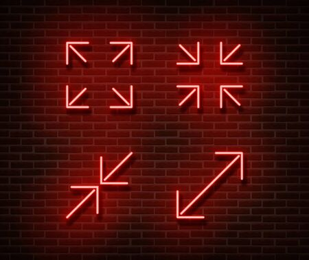 Neon maximize, minimize screen signs vector isolated on brick wall. Video player light symbol, decoration effect. Neon resize video player illustration. Archivio Fotografico - 130650836
