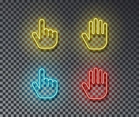 Neon touch signs vector isolated on brick wall. Touch hand, finger light symbol, decoration effect. Neon cursor illustration. Vettoriali