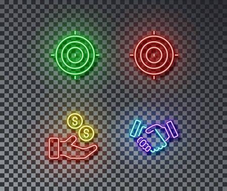 Neon business signs vector isolated on brick wall. Target, money safety, handshake light symbol, decoration effect. Neon finance illustration. Illustration