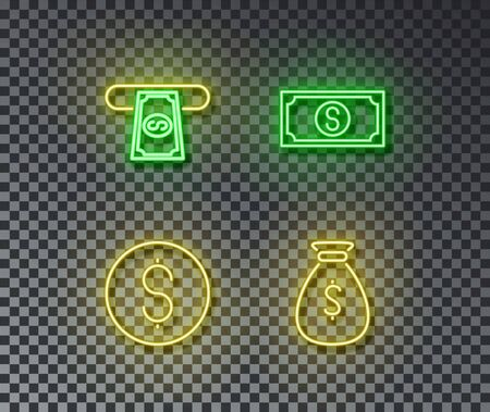 Neon money signs vector isolated on brick wall. Coin, cash, dollar, money bag light symbol, decoration effect. Neon finance illustration.