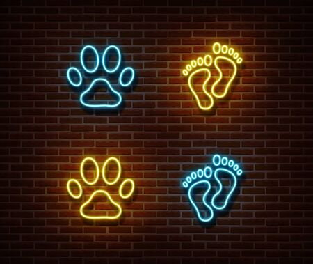 Neon footprint signs vector isolated on brick wall. Cat, dog, human foot print light symbol, decoration effect. Neon animal track illustration. Ilustração