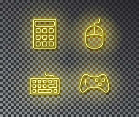 Neon device signs vector isolated on brick wall. Math calculator, keyboard, gamepad, mouse light symbol, decoration effect. Neon device illustration.