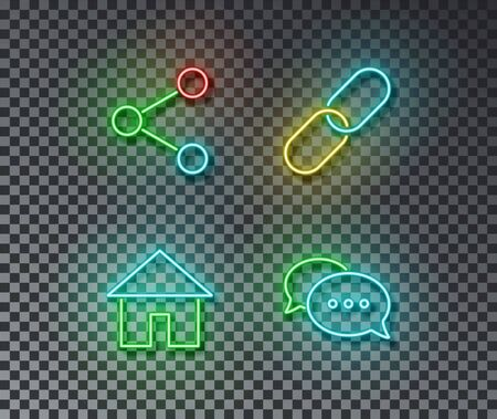 Neon social internet signs vector isolated on brick wall. Share, link, home, chat light symbol, decoration effect. Neon social illustration.