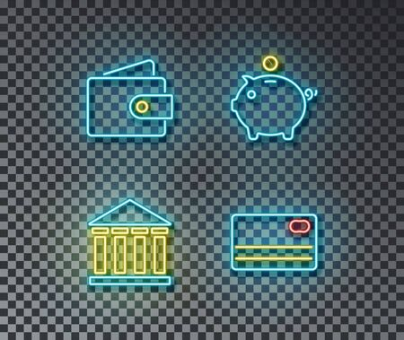 Neon banking signs vector isolated on brick wall. Wallet, bank piggy, card light symbol, decoration effect. Neon finance illustration. Archivio Fotografico - 130650871