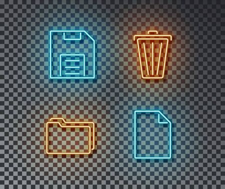 Neon program interface signs vector isolated on brick wall. Save, delite, new file, catalog light symbol, decoration effect. Neon computer illustration.