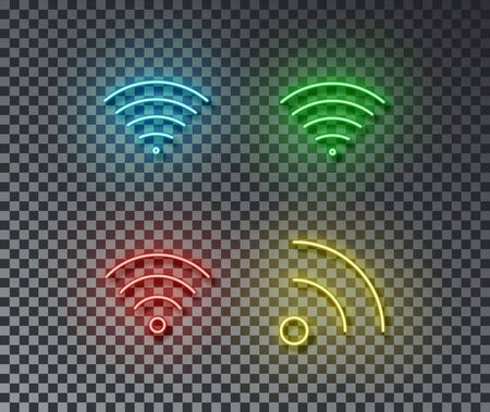 Neon wifi signs vector isolated on brick wall. Network wi fi light symbol, decoration effect. Neon internet illustration.
