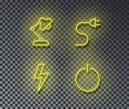 Neon electricity signs vector isolated on brick wall. Light lamp, charge on, lightning bolt light symbol, decoration effect. Neon energy illustration.