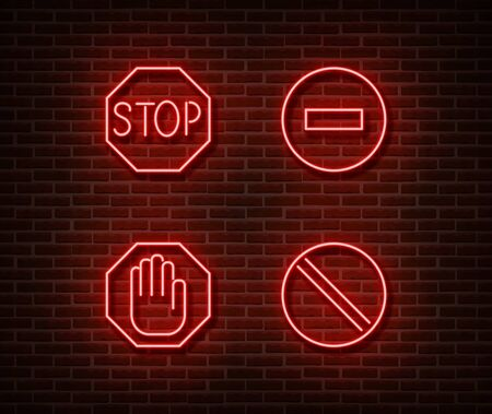 Neon stop roads signs vector isolated on brick wall. Stop hand, prohibited light symbol, decoration effect. Neon stop illustration. Archivio Fotografico - 130650876