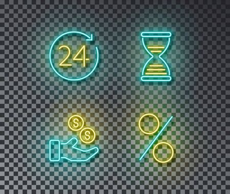 Neon money time signs vector isolated on brick wall. Coin, hourglasses, percent, safety money light symbol, decoration effect. Neon business illustration. Stock Illustratie