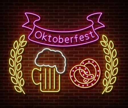 Neon Oktoberfest signs vector isolated on brick wall. Germany holiday light symbol, festival decoration effect. Neon oktoberfest illustration Ilustração