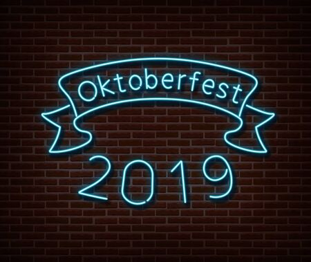 Neon Oktoberfest signs vector isolated on brick wall.