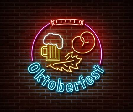 Neon Oktoberfest signs vector isolated on brick wall. Germany holiday light symbol, festival decoration effect. Neon oktoberfest illustration Vettoriali