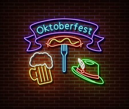Neon Oktoberfest signs vector isolated on brick wall. Germany holiday light symbol, festival decoration effect. Neon oktoberfest illustration Stock fotó - 132289914
